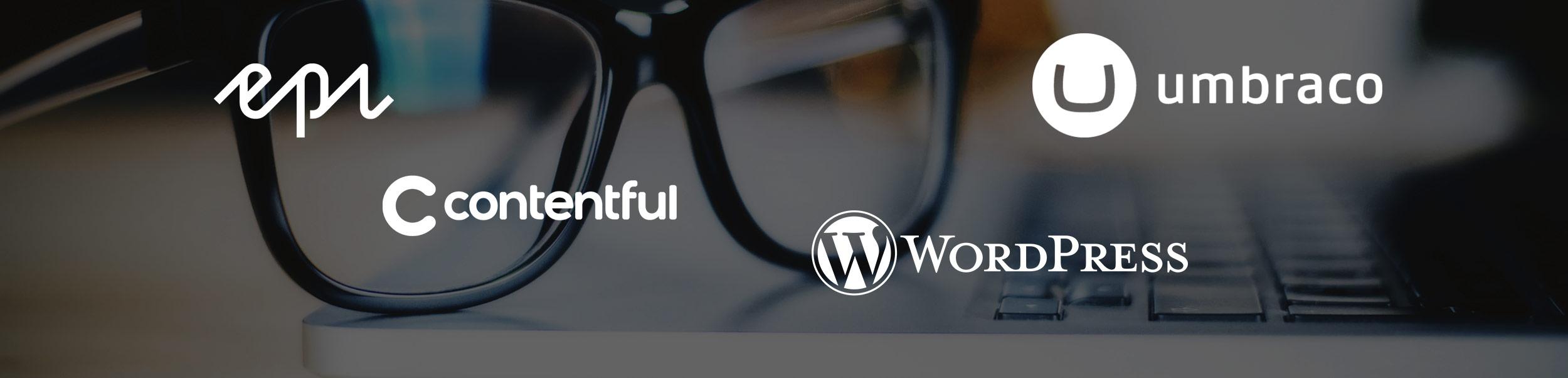Bilde som inneholder logoene til WordPress, Umbraco, Episerver og Contentful