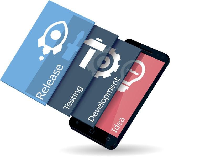 Illustrasjon av utviklingsprosess på mobil.