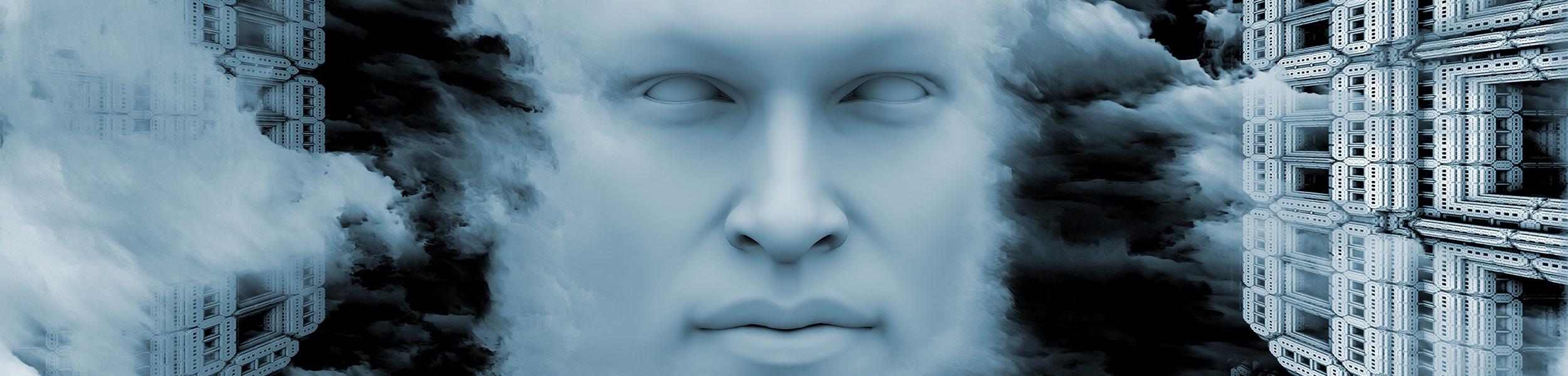Bilde av et mystisk ansikt som illustrerer AI teknologi.