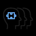 Icon av hoder med puslespillbrikke som illustrerer at vi setter sammen totale løsninger.