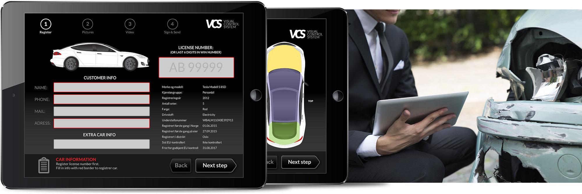 Bilde som viser visual conrol system på ipad og en skadet bil.